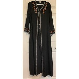 Embroidered Button up Abaya with Matching Shawl